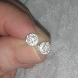 Jewelry - 1/2tcw diamond halo earrings 14k